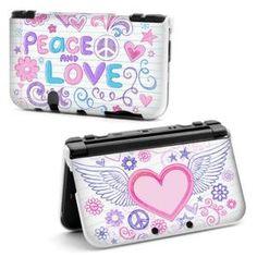 HOUSSE DE TRANSPORT Coque Housse NEW 3DS XL Peace Love Blanc Coeur Ail