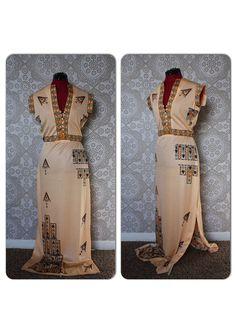 Vintage Early 1970's Paganne by Gene Berk Peach Native Print Dress by pursuingandie, $149.00