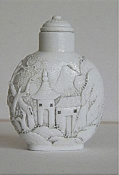White Porcelain Custle in Mountains Chinese Snuff Bottle