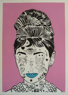 Rugman - Audrey Pink, Spray Paint & Hand Paint Print - www.hawkinsandblue.com