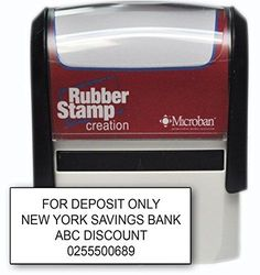 "Bank Deposit Stamp - Four Line Self Inking Stamp for Check Endorsement - 3/4"" x 1-7/8"""