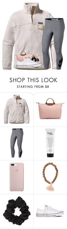 """""""ootd"""" by prepstergab ❤ liked on Polyvore featuring Patagonia, Longchamp, NIKE, philosophy, Miss Selfridge and Converse"""