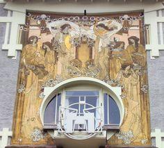 Maison Cauchie, architecte Paul Cauchie (1905) Etterbeek (Bruxelles), détail sgraffite 2éme étage