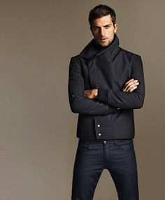 Shop this look for $55:  http://lookastic.com/men/looks/charcoal-pea-coat-and-navy-jeans/697  — Charcoal Pea Coat  — Navy Jeans