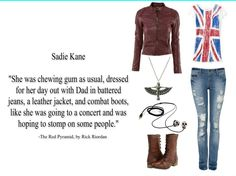 Sadie Kane's first outfit in The Red Pyramid by Rick Riordan. Oh my gods Sadie looked kinda like Rose. The Kane Chronicles, Sadie Kane, Rick Riordan Book Series, Rick Riordan Books, Kane Chronicals, Combat Boot Outfits, Red Pyramid, Homecoming Outfits, Last Minute Costumes