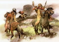 Pict warriors on horseback chase an isolated Scot into a deserted broch in Dalriada, Northwest Scotland in the 7th Century CE.