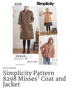 Simplicity 2016 8298 Dottie Angel coat pattern