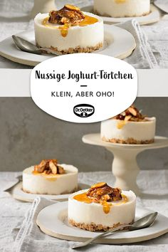 Nutty yogurt tarts-Nussige Joghurt-Törtchen Nutty yoghurt tarts: crunch base made from nuts and white chocolate with yoghurt curd cream and honey and cake board - Cupcakes, Crunches, Tupperware, Spinach Dip, Smoothie Recipes, Nutella, Cheesecake, Food And Drink, Sweets
