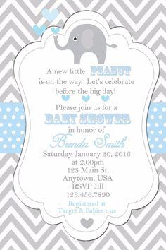 Print your own invitation, Baby Shower, Invitations, Elephants, Baby Boy