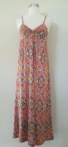 NIEVES LAVI Colorful Silk Jersey Tribal Print Maxi Empire Waist Sun Dress 4 S…