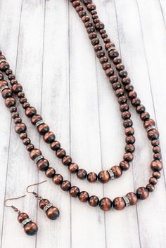 Copper Navajo Pearl and Crystal Disk Endless Necklace and Earring Set #AS5668-CB