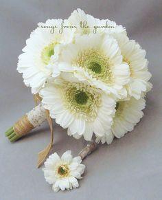 Lace  Jute White Gerber Daisy Silk Flower by SongsFromTheGarden