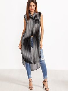 Sheinside Women Longline Blouses Striped Sleeveless Summer Tops Black And White Curved Hem Clothing 2017 Pocket Button Up Blouse Casual Wear, Casual Outfits, Fashion Outfits, Womens Fashion, Fashion Trends, Sleeveless Blouse, Blouse Designs, Shirt Dress, Clothes For Women