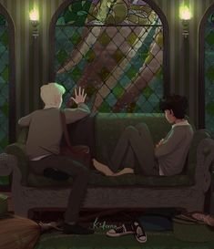 Evening in the Slytherin Common Room. Fanart Harry Potter, Harry Potter Feels, Albus Severus Potter, Arte Do Harry Potter, Harry Potter Draco Malfoy, Harry Potter Ships, Harry Potter Drawings, Harry Potter Universal, Harry Potter Fandom