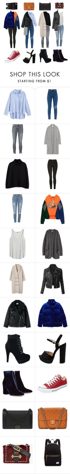 """""""Untitled #1739"""" by mayanderson ❤ liked on Polyvore featuring Frame, Madeleine Thompson, Topshop, River Island, H&M, LE3NO, MANGO, Gianvito Rossi, Converse and Chanel"""