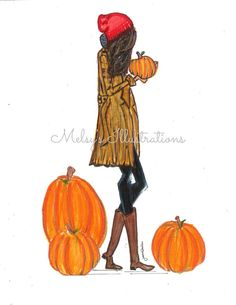 Pumpkin patch by Melsys Autumn Illustration, Graphic Illustration, Fashion Painting, Fashion Art, Bubble Art, Fall Wallpaper, Illustrations And Posters, Fashion Illustrations, Autumn Art