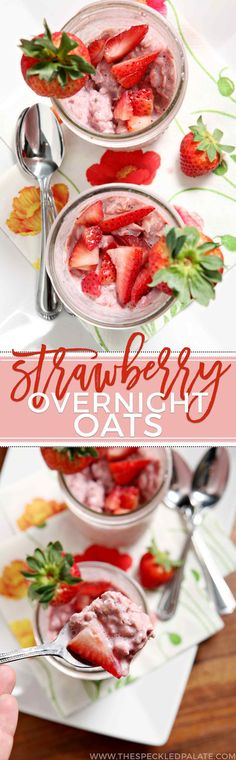 Prepare breakfast the night before by mixing up oats, strawberries and milk in a mason jar, then letting them hang out overnight to create these delicious Strawberry Overnight Oats. Enjoy cold the next morning, topped with fresh strawberries (and some dark chocolate, if you're feeling decadent!)