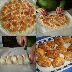 Pizza hapjes -opgerold
