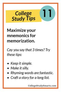 Using Mnemonics to Remember Lists and Processes - College Study Smart, Final Exam Study Tips, Best Study Tips, Study Techniques, Learning Techniques, Life Hacks For School, School Study Tips, Effective Study Tips, University Tips, Exams Tips