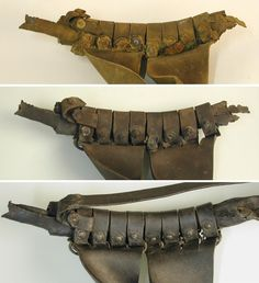 A late 16th/early 17th century leather sword hanger found in excavations in Breda. It is shown as found at the top, during conservation in the center, and after conservation at the bottom. Note the riveted fastenings on the sliders, very important for reducing bulk. The leather is 4mm thick at its thickest points.