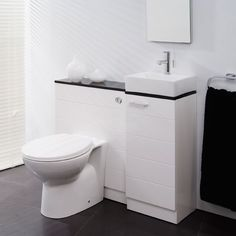 Vail 325 combination unit featuring basin unit with basin and soft close door WC unit with WC pan toilet seat and concealed cistern. All units have a high white gloss finish. This unit is supplied with an additional high gloss black worktop for greater choice of finish.  www.sunshinecoastinteriordesign.com.au