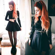 Dark Fashion, Grunge Fashion, Autumn Fashion, Fashion Looks, Luanna Perez, Estilo Rock, Looks Black, Rocker Style, Fashion Moda