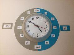 Opetuskello. Idea: Pirjo Niittyviita Alakoulun aarreaitta/FB Math Clock, Elementary Math, Teaching, Education, Daycare Ideas, Maths, Classroom Ideas, Random, Pictures