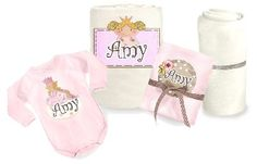Personalized set  for the new born baby girl.    This lovely set contains:    * A pink soft baby blanket.    Blanket can be used in the summer and winter season as well (during the winter as a quilt cover).   Choose your color : cream / baby pink    *Classic 100% cotton muslin diaper    * Long sleeved body suit    * Standard crib sheet   Price: $94
