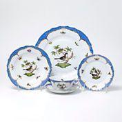 ROTHSCHILD BIRD BLUE DINNERWARE BY HEREND  Edged in 24k gold  $420