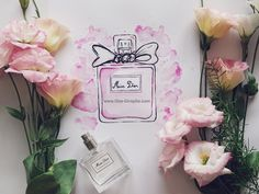 Miss Dior - Watercolor Perfume Dior Perfume, Miss Dior, Sketch, Watercolor, Style Inspiration, Artist, Flowers, Painting, Sketch Drawing