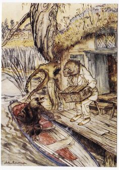 Postcard - Rat and Mole by the Riverbank. Wind in the Willows - Illustration Art