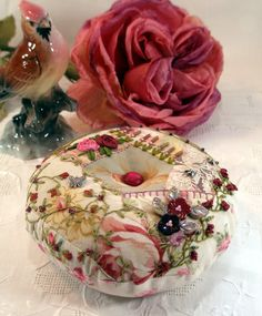 PIncushion, Deep Rose Crazy Patch Pincushion with Hand Embroidery and Beading, Ready to Ship