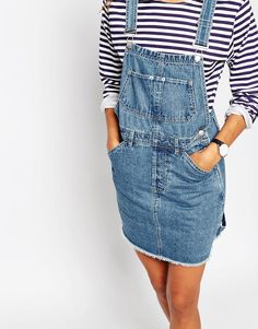 Denim Classic Dungaree Dress With Raw Hem in Mid Wash Blue
