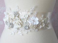 Creamy Ivory Bridal Sash Ivory Wedding Belt by TheRedMagnolia,
