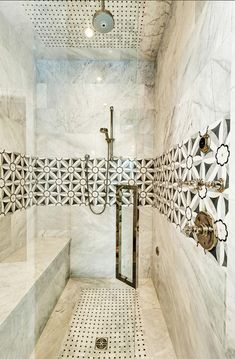 Bathroom Shower. Bathroom Shower Design. Inspiring bathroom shower tiling.  Shower Tiling Source:   Edie, a stone mosaic shown in Nero, Bardiglio, Thassos and Carrara, is part of the Silk Road Collection by Sara Baldwin for New Ravenna Mosaics. Shower Tiling Ideas.  #Bathroom #BathroomShower #BathroomShowerTiling