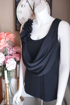 Draped Cowl Black Ruffled Nursing Sleeveless Top With  Hidden Nursing Access - wyldchicboutique