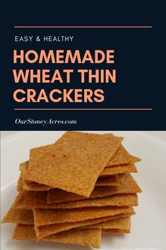 Try this recipe for homemade wheat thin crackers. This tasty and easy to make recipe will become a family favorite Healthy Crackers, Healthy Snacks, Healthy Recipes, Indian Biscuit Recipe, How To Make Crackers, Real Food Recipes, Quick Recipes, Delicious Recipes, Wheat Thins