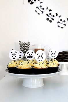 Cupcakes at a panda birthday party! See more party planning ideas at CatchMyParty.com!