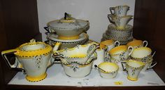 Lot 1 - SECTION An Art Deco Burleigh Ware part dinner and tea service, painted with flowers with bright Bright Yellow, Green And Orange, Sugar Bowls, Milk Jugs, The Saleroom, Tea Service, Coffee Set, Tea Sets, Vintage China