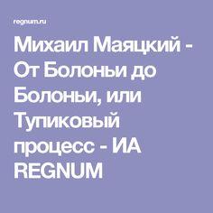 Михаил Маяцкий - От Болоньи до Болоньи, или Тупиковый процесс - ИА REGNUM