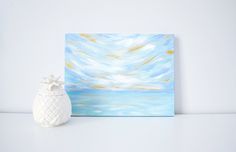 """Original Acrylic Painting by Kristen Laczi.  This painting is perfect for a home office or for a tropical beach themed nursery.   -- Title -- Golden Hour #1  -- Details --  Dimensions: 12""""W x 9""""H Depth: .5"""" Wrapped Canvas - Painted on all sides  Coastal Home Decor 