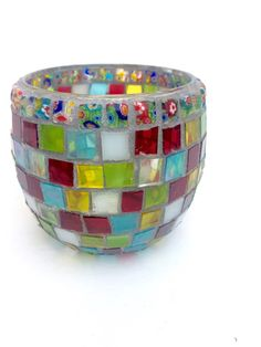 Mosaic candle holder, Festival Nights, stained glass votive, flower pattern beads, geometric, red, blue, yellow, green, friend gift,new home