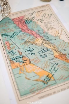 Guest Signing Map instead of book  - Cabo Destination Wedding {So Eventful