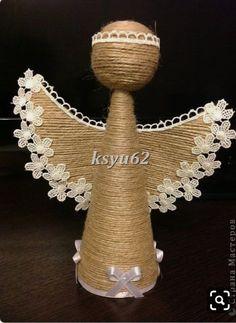 Crochet Christmas Decorations, Diy Christmas Ornaments, Christmas Angels, Christmas 2019, Jute Crafts, Felt Crafts, Diy Crafts, Xmas Gifts, Decoupage