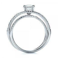 Custom Pave Diamond Multi-Band Engagement Ring - Finger Through View
