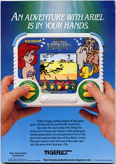 I used to play this on NES, but L♥ved It! Old school hand-held Disney's The Little Mermaid video game by Tiger Electronics The Little Mermaid Games, Little Mermaid Videos, 90s Childhood, Childhood Memories, Childhood Quotes, Childhood Characters, Adventure Magazine, Vintage Video Games, Back In The 90s