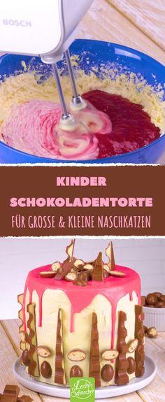 Wenn diese Torte mit Kinder Schokolade kein Hingucker ist, was dann?! #leckerschmecker #rezept #backen #torte #kuchen #biskuit #biskuitboden #kinder_schokolade #kinder_riegel #kinder #ferrero #naschen #süßigkeiten #schoko_bons #creme #cremig #ganache #himbeeren #riegel #schokolade #weiße_schokolade #geburtstag #party