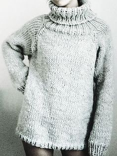 Another possible pattern for the Lopi Freestyle!! ...Three Movies Sweater by Handarbetaren knit in a super bulky yarn on 9mm needles ~ Bottom-up, in-the-round, raglan with a turtleneck. FREE pattern and another pattern to size this up.