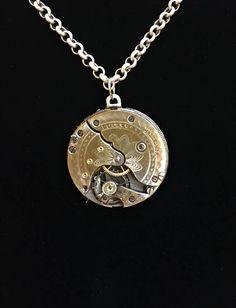 Steampunk Gold Antique Steampunk Pocket Watch Necklace, Men's Necklace, Women's Necklace, Women's Gift, Steampunk Wedding, Unique Necklace