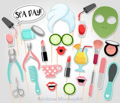 Spa Day Printable Photo Props Spa Manicure door RainbowMonkeyArt